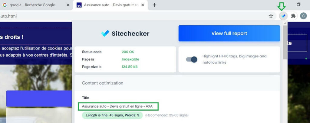 Extension Chrome SEO SiteChecker