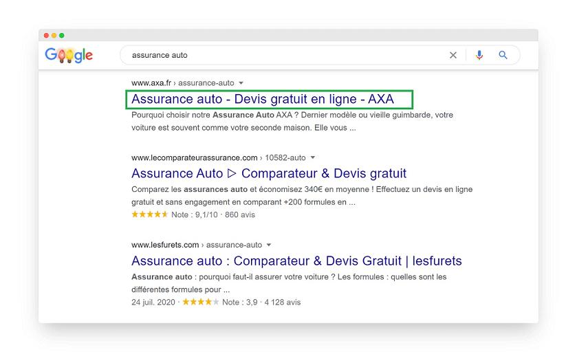Balise Title dans les SERP Google