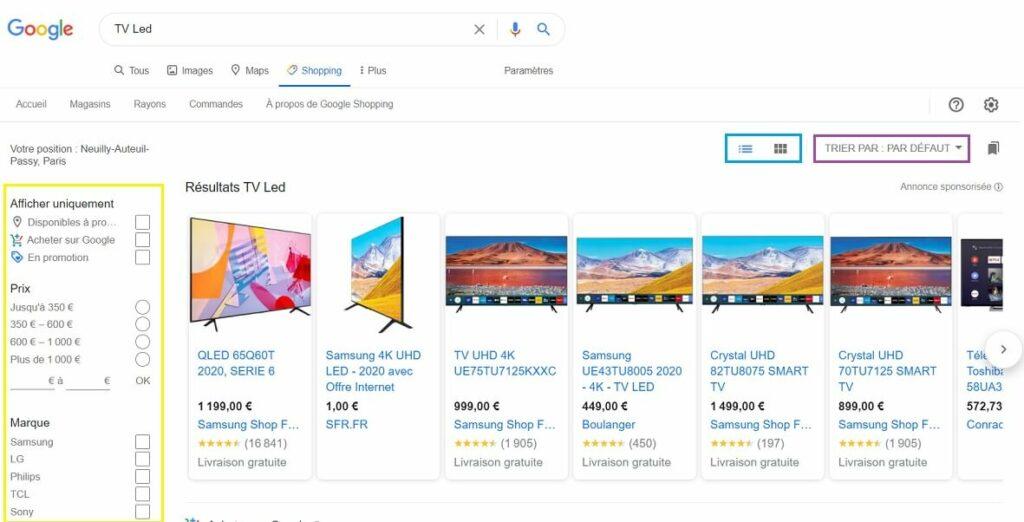 Google shopping optimise son UX avec ses filtres de recherche et tris