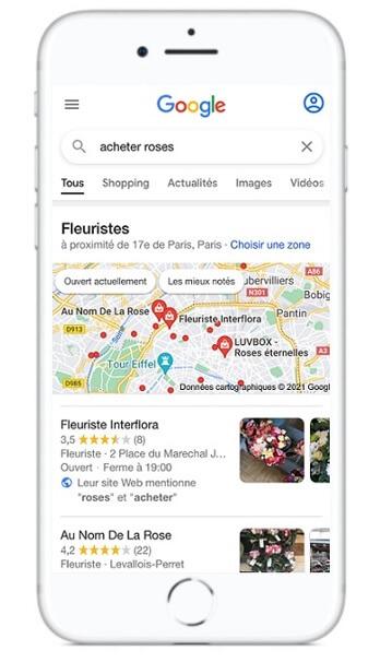Recherche locale sur mobile