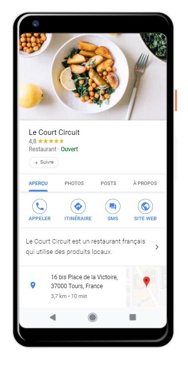 Profil d'établissement Google My Business sur mobile