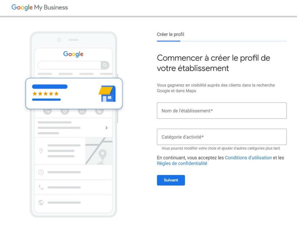 création d'un compte Google My Business