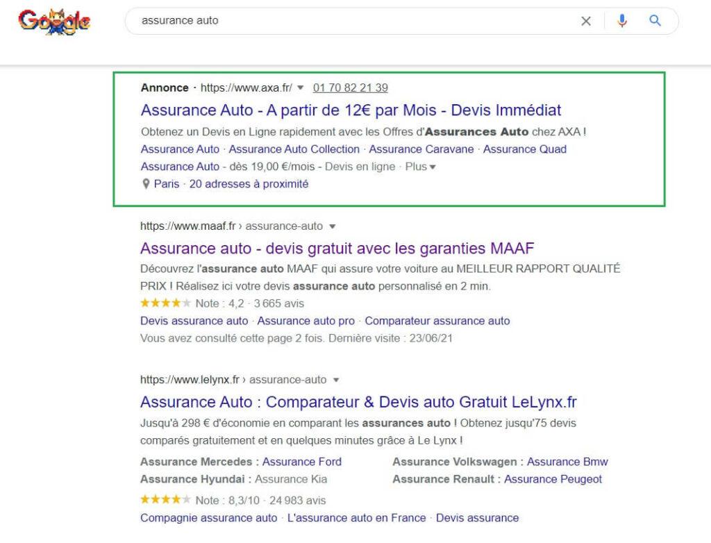 Liens sponsorisés ou commerciaux - Google Ads